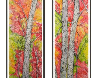 Original Mixed Media Art, (2) Tree Panels, Framed Art, Original Pastel, Wall Art, Original Painting, Wall Art, Ready to Hang