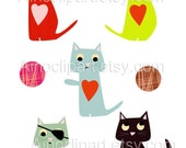 Original Cat Clip Arts for Scrapbooking,Crafts,Paper Products-Small Commercial Use