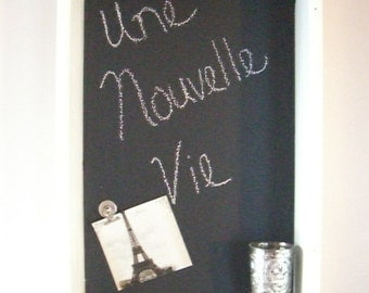 white framed chalkboard magnetic aged vintage shabby chic chalk board blackboard french country