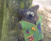 Rerserved for Yu Wenjie. Felted Primitive Bear. Rupert,  natural wool, wet felted. Eco-friendly.