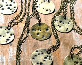 Aquarius - Zodiac Constellation Necklace - Hand Stamped Brass Pendant on Vintage Brass Chain - January - February  Birthday