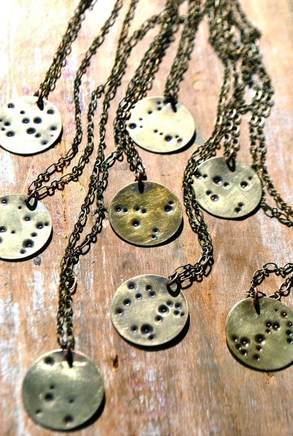 Gemini | Zodiac Constellation Necklace | Hand Stamped Brass | Vintage Brass Chain | June Birthday