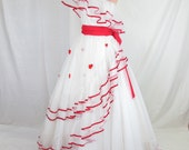 70s One Shoulder Red White Heart Ball Gown, Valentine Cupcake Ruffles Prom Strapless