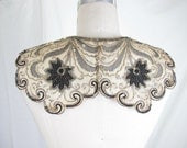 Victorian Edwardian Beaded Applique with Original Paper Backing Gold Sequins Black and Bronze Beading Shawl Collar