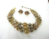 1950s 1960s Vendome Designer Bronze Glass Bead and Crystal Necklace and Earring Set, Signed Jewelry