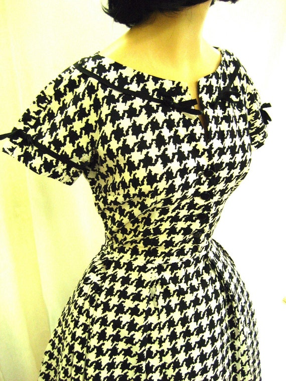 1950s Cotton Houndstooth Black Amp White Dress Day Dress Sun