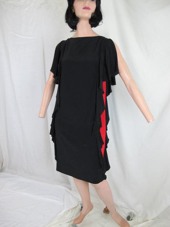 80s Designer Vintage Chloe Silk Cocktail Dress, Black Red and Teal Green Sleeveless Color block, Ruffled sides