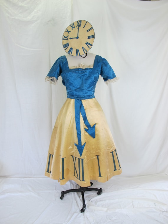 1900s Antique Costume Clock Dress, Silk Stunning Costume with Matching Clock Hat