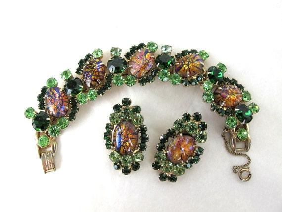 1960s Juliana DeLizza & Elster Green Cats-Eye Cabochon Bracelet and Earrings, Vintage Designer Costume Jewelry