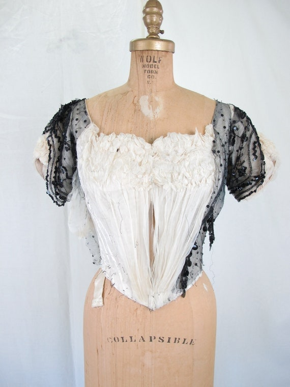 Victorian 1880's Black and White Silk and Sequin Top Bustle Gothic  Boned Corset Interior Costume as is
