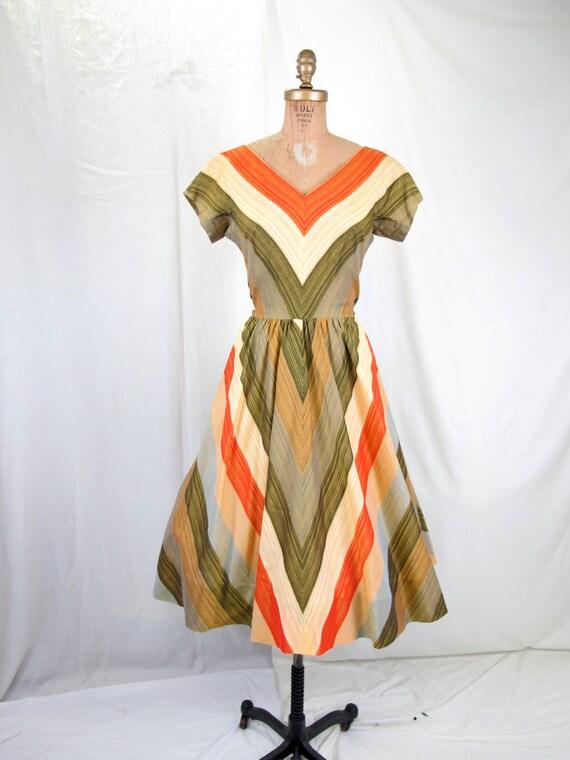 1950's Cotton Stripe Day Dress Portrait Neckline Full Skirt