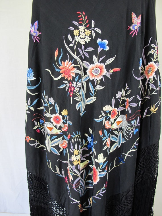Antique 1920s Flapper Era Vintage  Silk Embroidered Piano Shawl Black with Birds and Flowers Lush Full Design