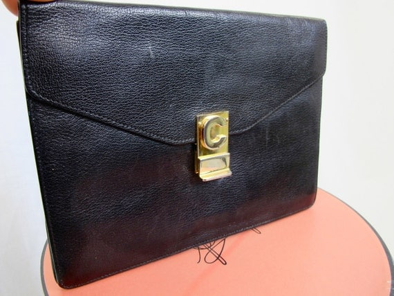 CELINE of Paris Black Leather Envelope Cluch