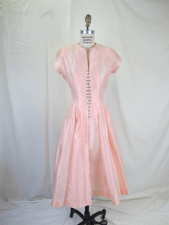 On Hold.....1950's SUZY PERETTE Pale Shimmering Pink Hook Front Party Dress Corset Back