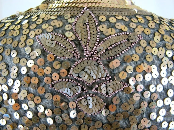 1930s Gold Sequined and Beaded Evening Jacket Bolero Sheer Made in France
