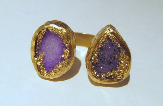 Amethyst Purple Double Druzy Ring
