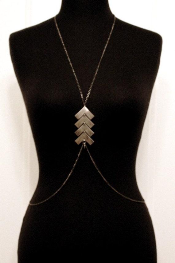 geometric silver statement body chain