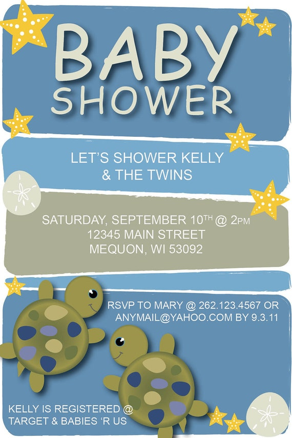 items similar to baby shower invitation under the sea turtle on etsy