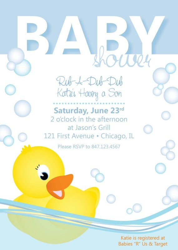 baby shower invitation rubber ducky