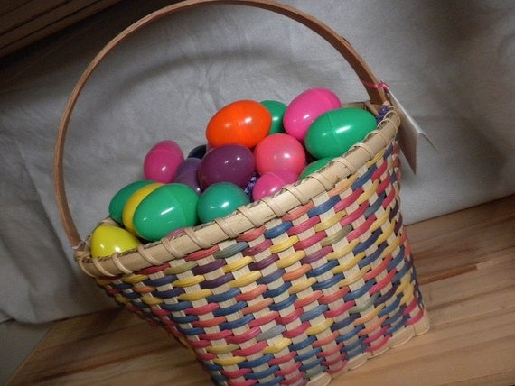 Handmade Peg Baskets : Handmade easter basket rainbow space dyed reed large
