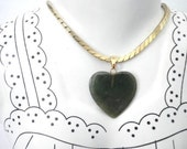 Green Jade Heart Pendant and Necklace