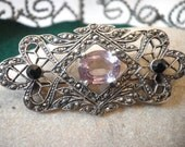 Art Deco Amethyst Sterling Pin Brooch Circa 1920s