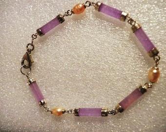 Handmade Vintage  Amethyst Water Pearl Sterling Bracelet
