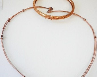 Gold Pink Tone Sterling Necklace and Matching Bracelet