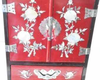 Vintage Chinese Jewelry Chest with Abalone Floral Motif