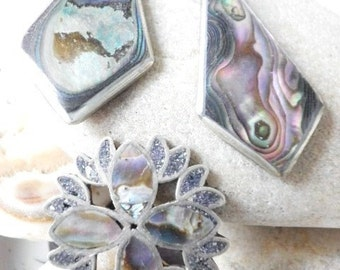Vintage Sterling Silver 925 Abalone Pin and Earrings