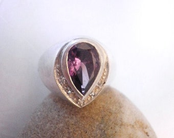 Pear Amethyst Cubic Zirconium Sterling Ring Victorian Era