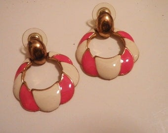 Collection 80s Holidays Candy Cane Stripes White Pink Enamel Earrings