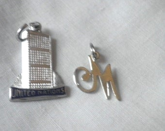 Vintage Sterling Charms M and United Nations Building
