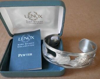 Lenox Pewter Cuff Bracelet Kirk Stieff Collection