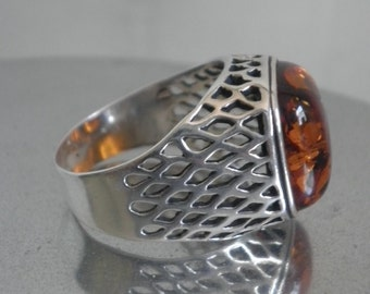 Sterling Amber Unisex Ring Poland