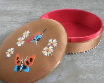 Embroidered Silk Oval Trinket Box