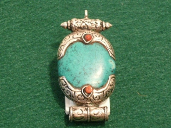 Vintage Old Tibetan Pendant with Coral, Large Turquoise on 925 sterling Silver