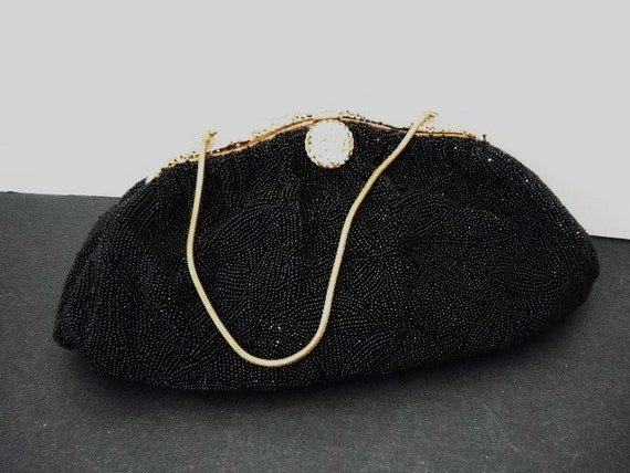 High Fashion Black Glass Beaded French Purse Hand Sewn Circa 1940s  Just Beautiful