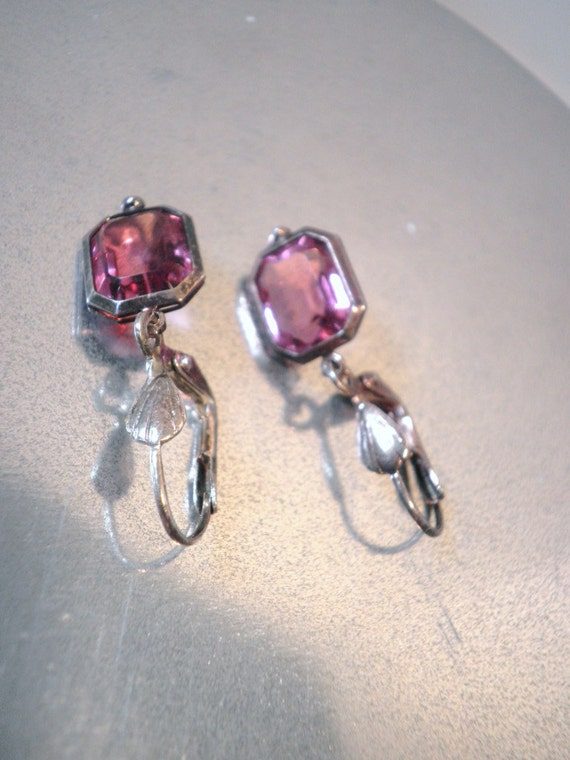 Sterling and Pink Topaz Earrings Circa 1930s