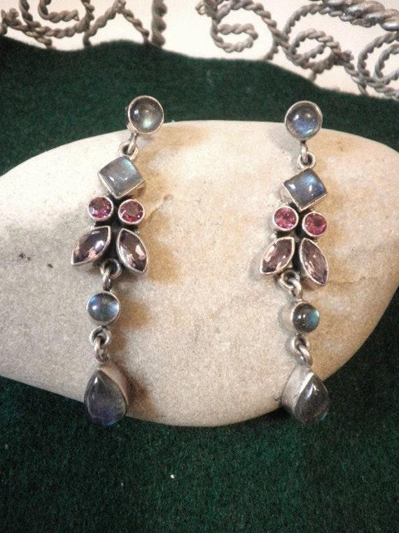 Opal and Gemstone Chandelier Sterling Earrings