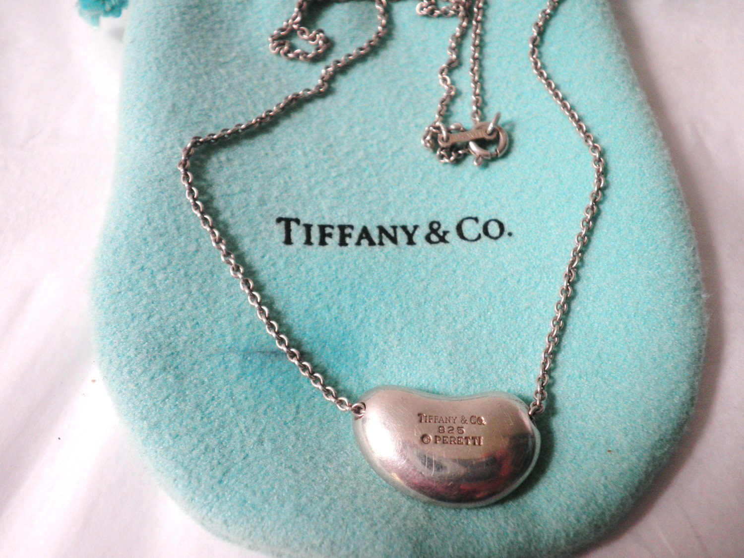 Tiffany Amp Co 20mm Bean Pendant Necklace Sterling