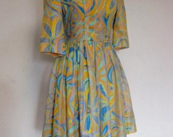 Yellow and Blue 1960's Handmade Dress