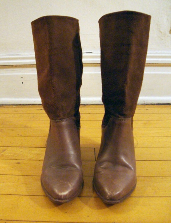 Brown Leather and Suede Slouch boots