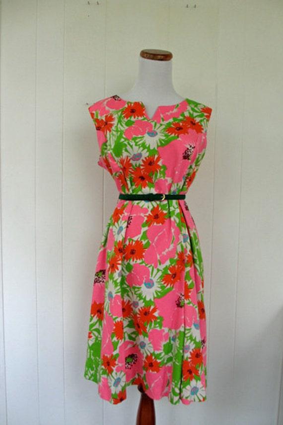 1960's Floral Shift Dress L/XL