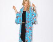 Vintage Floral Printed Kimono Jacket, Festival Wear