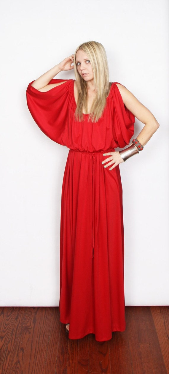 15% OFF Vintage 70s Dramatic, Red, Greek Goddess Dress, cupon: take15off