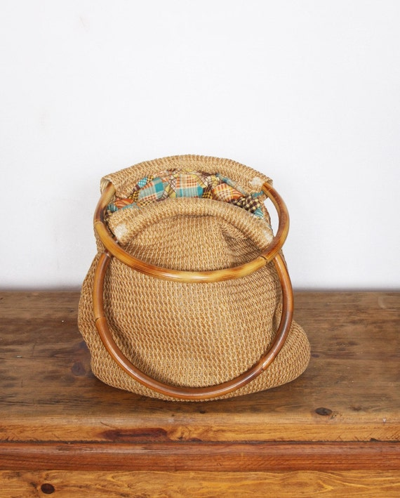 15% OFF Vintage jute/straw bag with bamboo handles, cupon: take15off