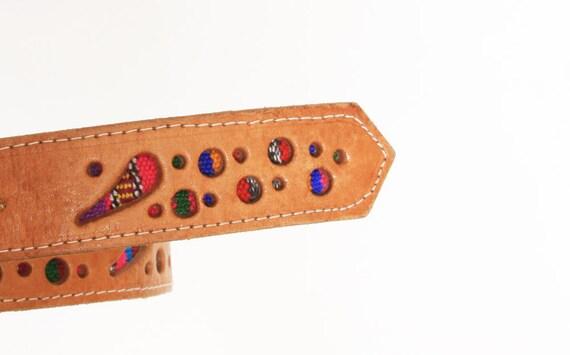 Vintage Leather Belt w/ Guatemalan Fabric Inlay