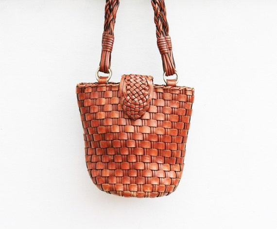 Vintage Leather Woven Bucket Bag w/ Round Bottom