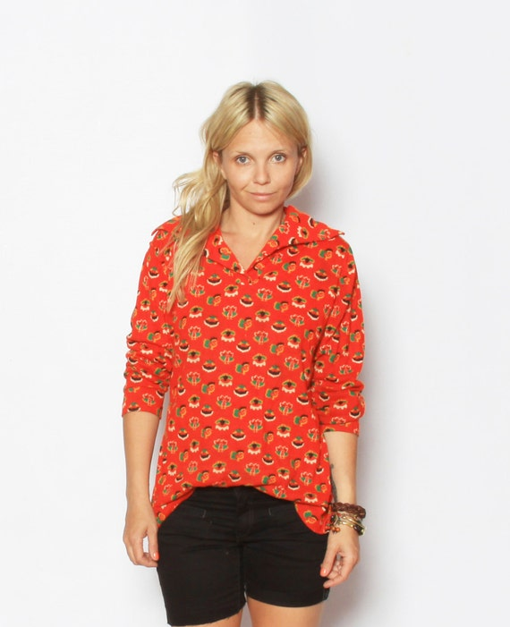 Vintage Red Novelty Print Shirt